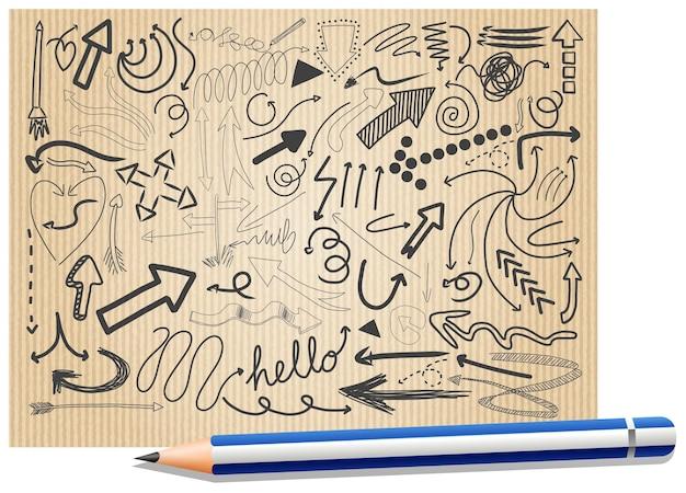 Различные каракули штрихи на бумаге карандашом