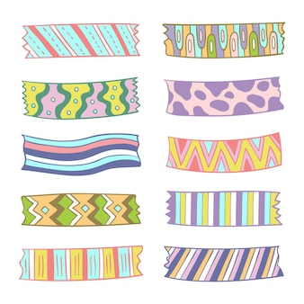 Different drawn washi tapes collection