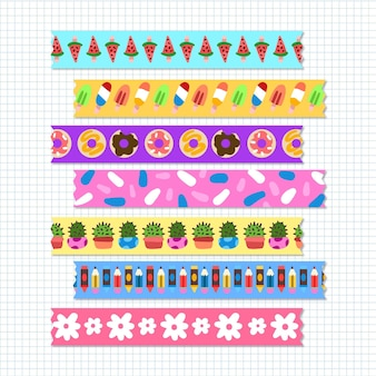 Different drawn washi tapes pack