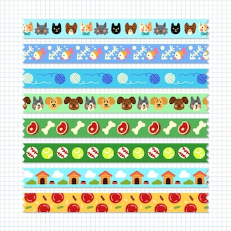 Different drawn washi tapes set