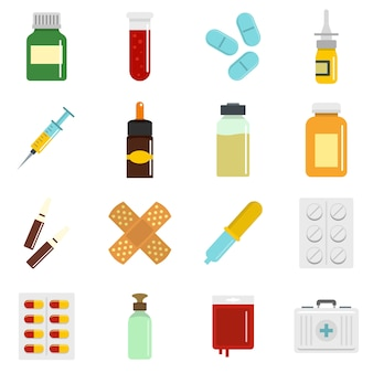 Different drugs icons set in flat style