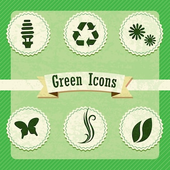 Different eco-labels to mark a product or service vintage background
