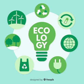 Different ecology concepts around a lightbulb
