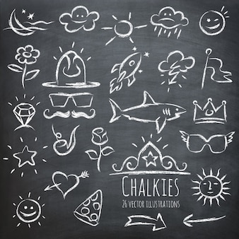 Diversi elementi disegnati su una lavagna