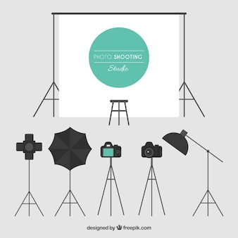 Different elements of a photo studio