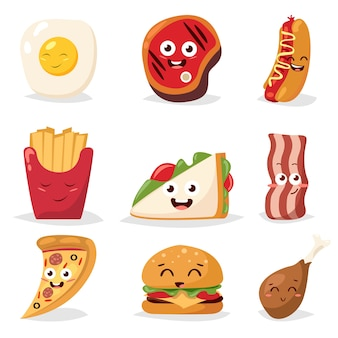 Different emotions collection fast food characters
