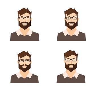 さまざまな感情。男の表現のセット。図