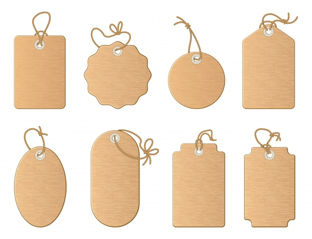 Different empty shop tags with linen ribbon or knot cord. vector cartoon illustrations set isolate o