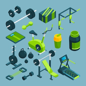 Different equipment for bodybuilding and powerlifting.