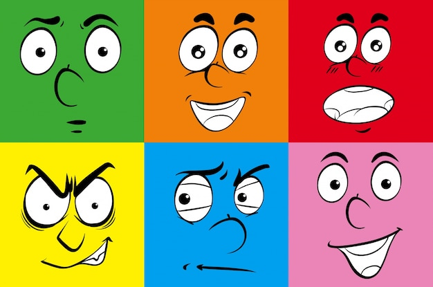 Different expressions on human faces