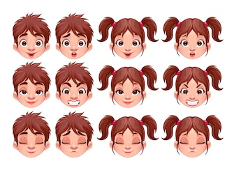 Different expressions of boy and girl vector isolated characters
