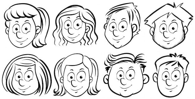 Различные лица людей