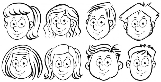 Different faces of people