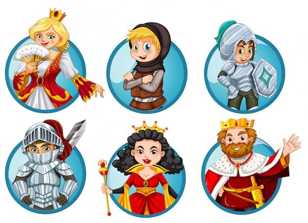Разные сказочные персонажи на круглом значке