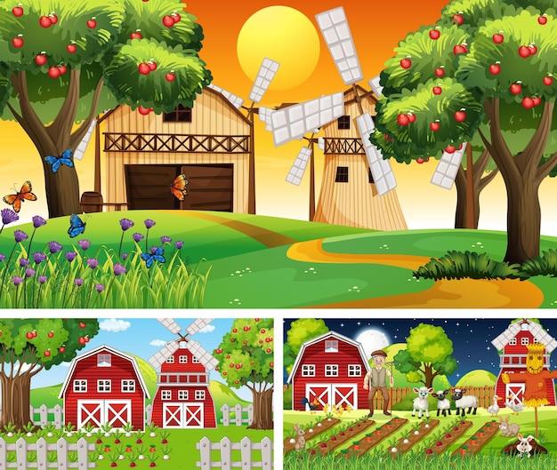 農場の動物の漫画のキャラクターを使ったさまざまな農場のシーン