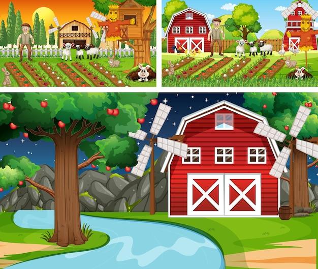 농장 동물 만화 캐릭터와 다른 농장 장면