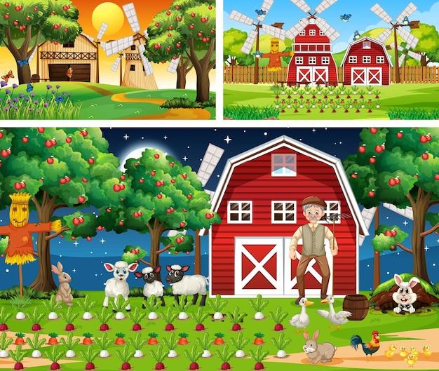 家畜の漫画のキャラクターとさまざまな農場のシーン