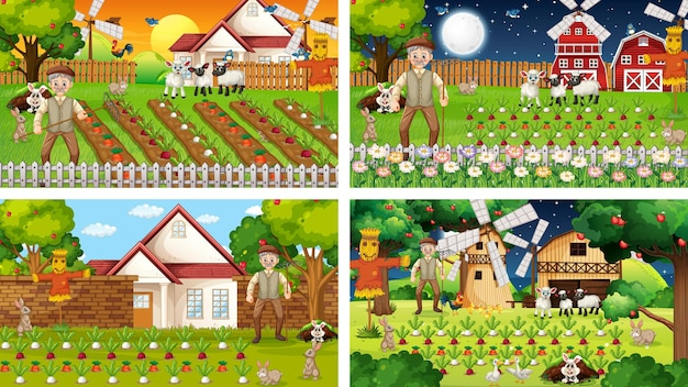 古い農家と動物の漫画のキャラクターとのさまざまな農場のシーン