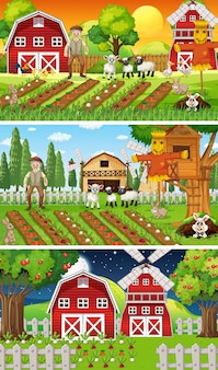 오래된 농부와 동물 만화 캐릭터가있는 다른 농장 장면