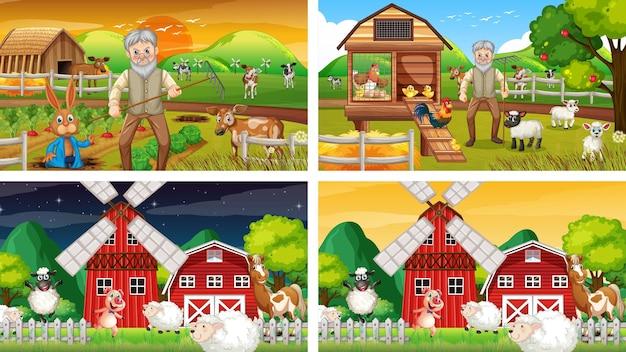늙은 농부와 동물 만화 캐릭터가 있는 다른 농장 장면