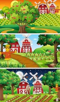 Различные фермерские сцены со старым фермером и мультипликационным персонажем животных