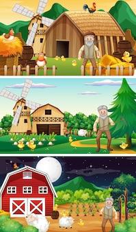 Diverse scene di fattoria con vecchio contadino e personaggio dei cartoni animati di animali
