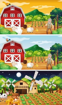 Diverse scene di fattoria con il vecchio contadino e il personaggio dei cartoni animati degli animali