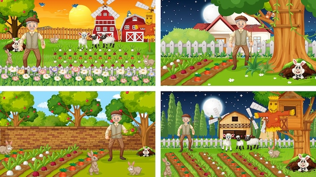 Different farm scenes with old farmer and animal cartoon character