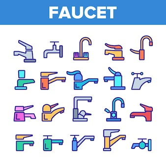 Different faucet sign icons set