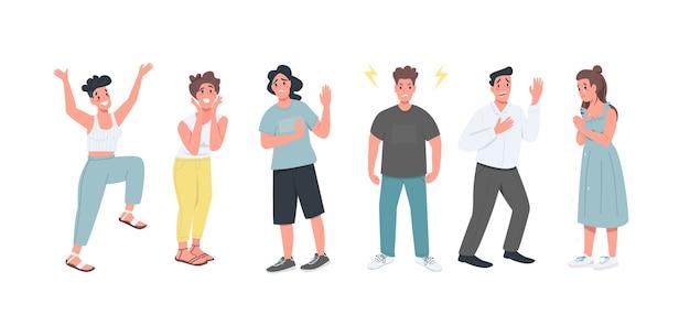 さまざまな感情のフラットカラーの詳細な文字セット。さまざまな表情を持つ男性と女性は、webグラフィックデザインとアニメーションコレクションの漫画イラストを分離しました