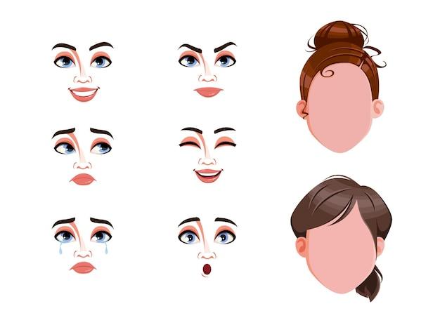 Набор выражений различных женских эмоций