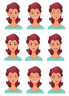 Different female emotions set.
