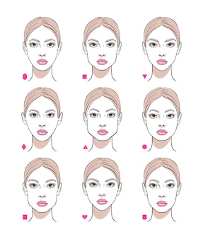 Различные формы женского лица.