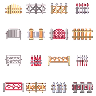 Different fencing icons set