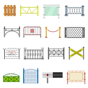 Different fencing icons set.