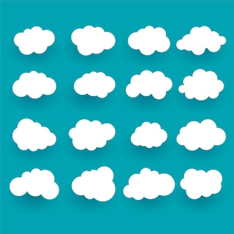 Different flat clouds set of sixteen Free Vector
