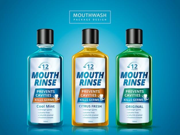 Разные вкусы жидкости для полоскания рта, упаковка