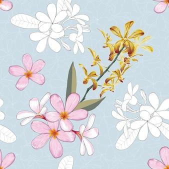水色の背景にさまざまな花の花柄のデザイン