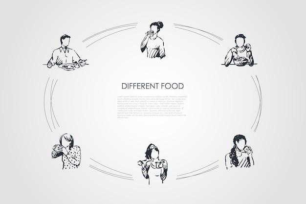 別の食品手描きのシクル