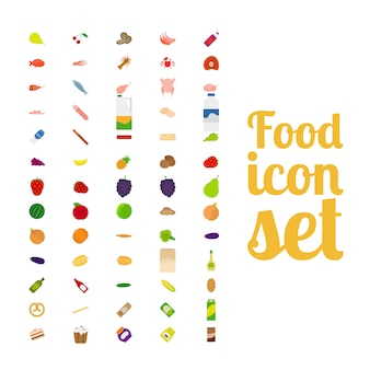 Different food isolated icon set