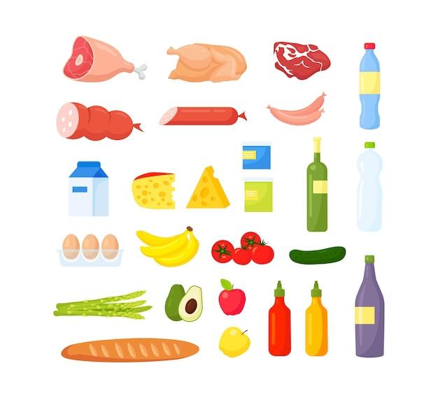 다른 음식 세트 과일과 야채 고기와 일기 빵과 음료