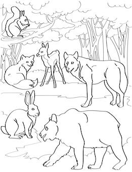 さまざまな森の生き物鹿キツネオオカミクマウサギと木の背景線画複数