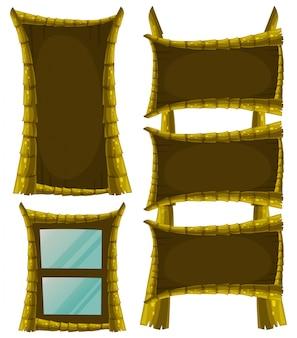 Diversi disegni del telaio con il legno
