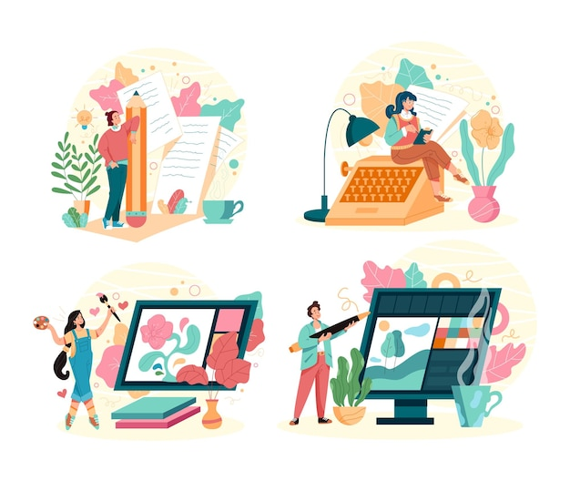 Different freelance profession concept isolated set, cartoon flat illustration