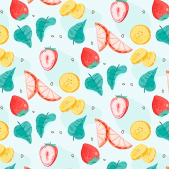 Different fruits pattern on blue background