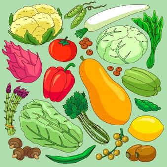 Different fruits and vegetables background