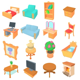 Different furniture icons set