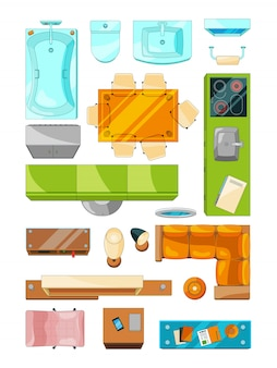 Различный набор мебели для планировки квартиры