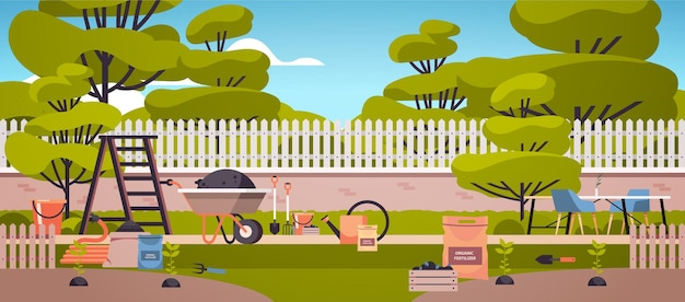 Different garden and farm tools gardening equipment in backyard eco farming agriculture concept horizontal illustration