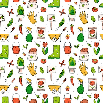 Different gardening tools and plants doodle hand drawn seamless pattern